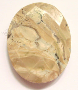 Faceted Pendant - Oval Top Horizontally Drilled Light Africa Opal 35 x 45 mm