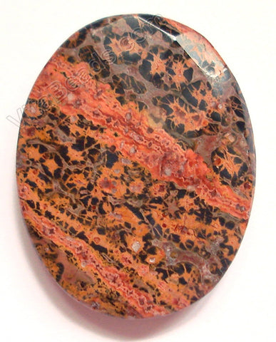 Leopard Skin Jasper - Red - Faceted Oval Pendant
