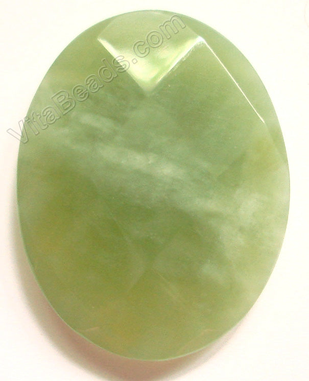 Dark New Jade - Faceted Oval Pendant