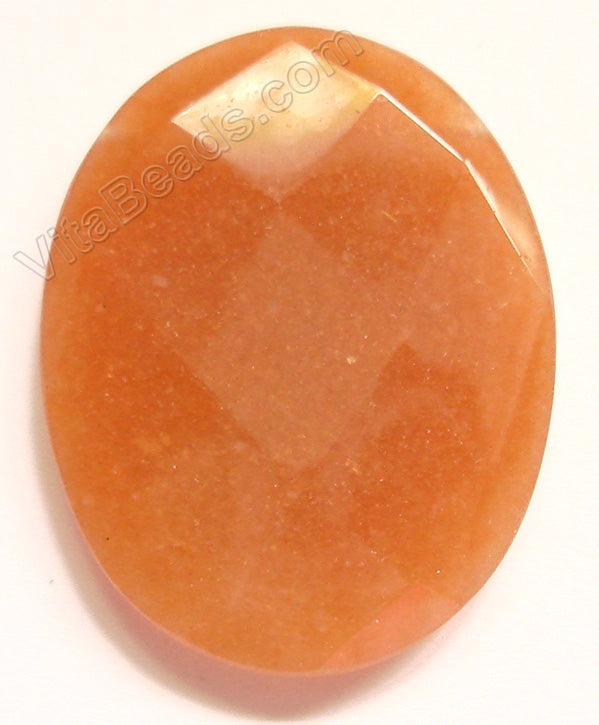 Light Red Aventurine - Faceted Oval Pendant