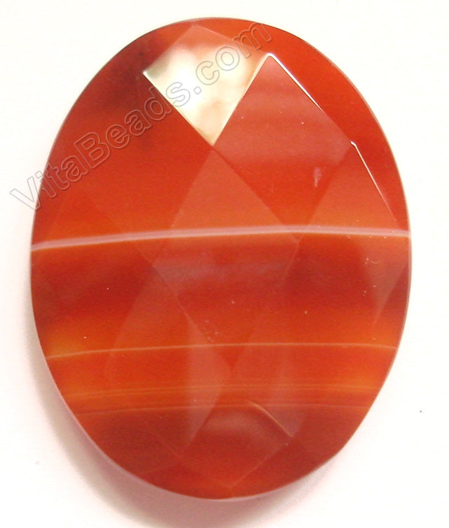 Dark Natural Carnelian - Faceted Oval Pendant