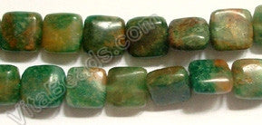 "Africa Jade with Brown   -  Puff Square  16""     8 x 8 mm  - $ 5.00    /   50 pc    Add to Cart"
