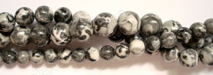 Black &. White Jasper -  Smooth Round Beads  16""