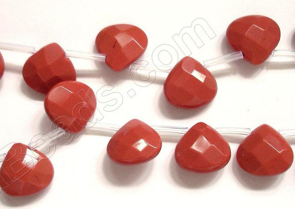 Dark Red Stone  -  13mm Faceted Flat Briolette 16""
