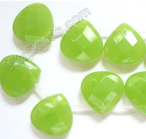 Olive Green Chalcedony  -  20mm Faceted Flat Briolette 8""