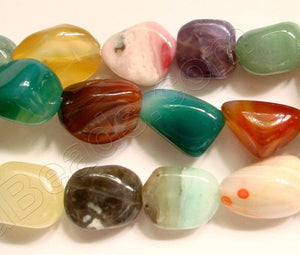 "Mixed Agate  -  Smooth Nuggets  16""    15x20mm"