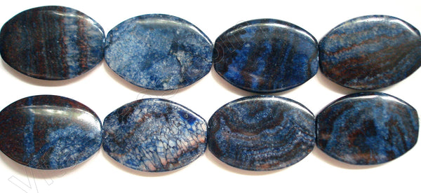 Dyed Blue Zebra Jasper  -  Flat Oval Drum  16""