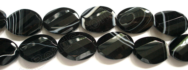 Sardonix Agate  -  Twist Faceted Oval  16""