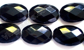 Faceted Oval  -  Black Onyx  16""