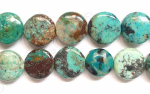 Chinese Chrysacolla  -  Puff Coin  16""