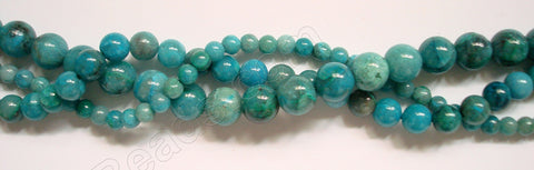 New Chrysacolla  -  Smooth Round Beads  16""