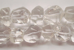"Natural Crystal AA  -  Smooth Machine Cut Tumble  16""     14 x 18 mm"