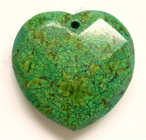 Faceted Pendant - Heart Green Turquoise