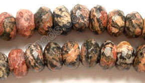 "Leopard Skin Jasper  -  Faceted Rondel  16""    4 x 8mm"