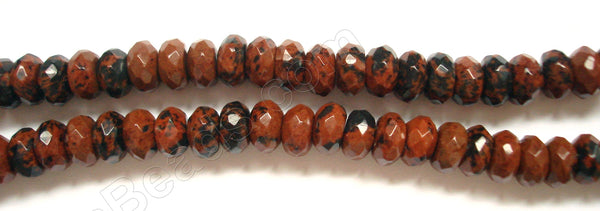 "Mahogany Obsidian  -  Faceted Rondel  16""    8 mm"