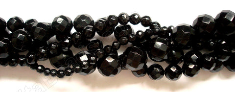 Black Onyx  -  64 Faceted Round  16""