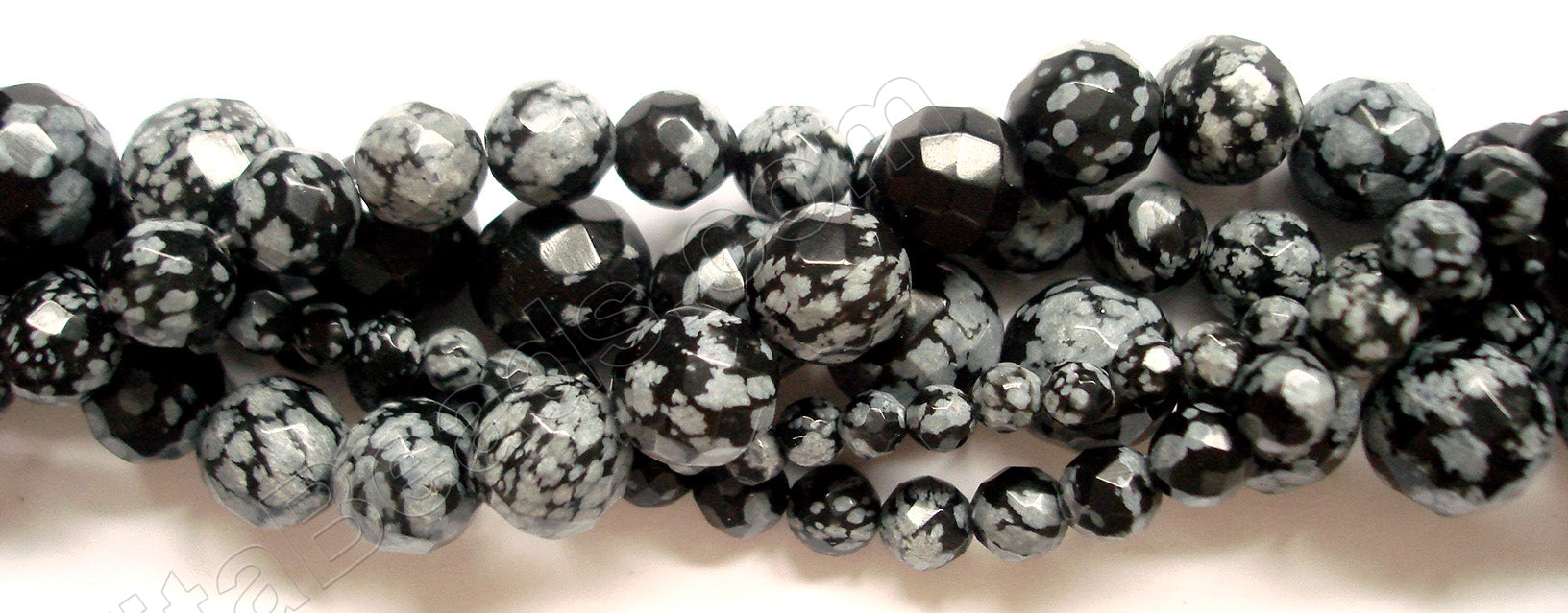 Snowflakes Obsidian  -  Faceted Round   16""