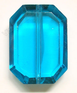 Faceted Pendant - Rectangle Ocean Blue Crystal