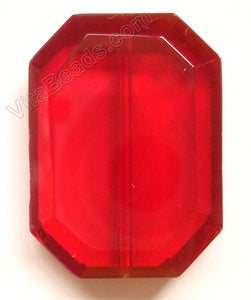 Faceted Pendant - Rectangle Red Win. Quartz