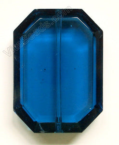 Faceted Pendant - Rectangle London Blue Crystal