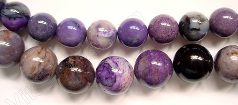 Purple Crazy Lace Agate - Smooth Round Beads   16""