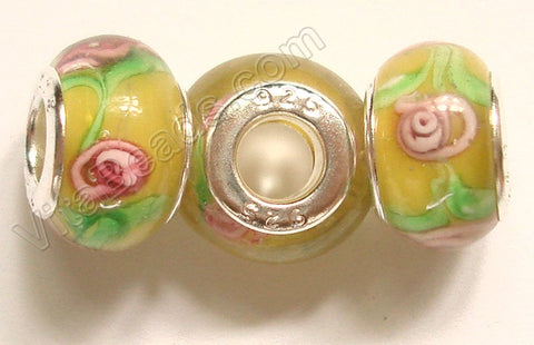 Glass Beads - Silver Plate Double Cores Drum pdg 104 - Yellow