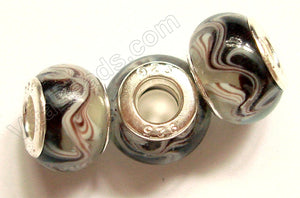 Glass Beads - Silver Plate Double Cores Drum pdg 111 - Black