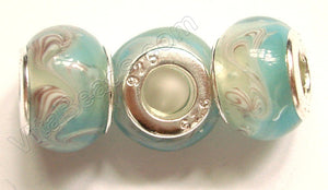 Glass Beads - Silver Plate Double Cores Drum pdg 112 - Light Aqua