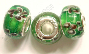 Glass Beads - Silver Plate Double Cores Drum pdg 113 - Green