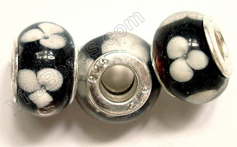 Glass Beads - Silver Plate Double Cores Drum pdg 115 - Black