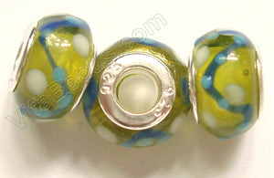 Glass Beads - Silver Plate Double Cores Drum pdg 127 - Olive