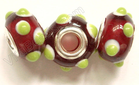 Glass Beads - Silver Plate Double Cores Drum pdg 129 - Red