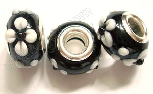 Glass Beads - Silver Plate Double Cores Drum pdg 130 - Black