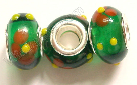 Glass Beads - Silver Plate Double Cores Drum pdg 131 - Green