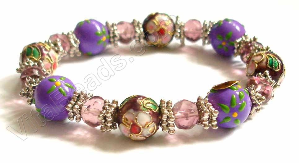 Glass w/ Cloisonné Beads Bracelet Purple