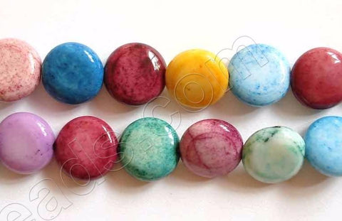 Dyed White Agate (Multi Color)  -  Puff Coins  16""