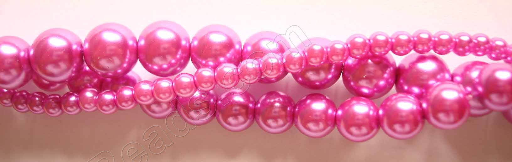 Glass Pearl   -  13  Fuchsia  -  Smooth Round  16""