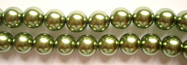 Glass Pearl   -   03 Dark Olive Green   -  Smooth Round  16""