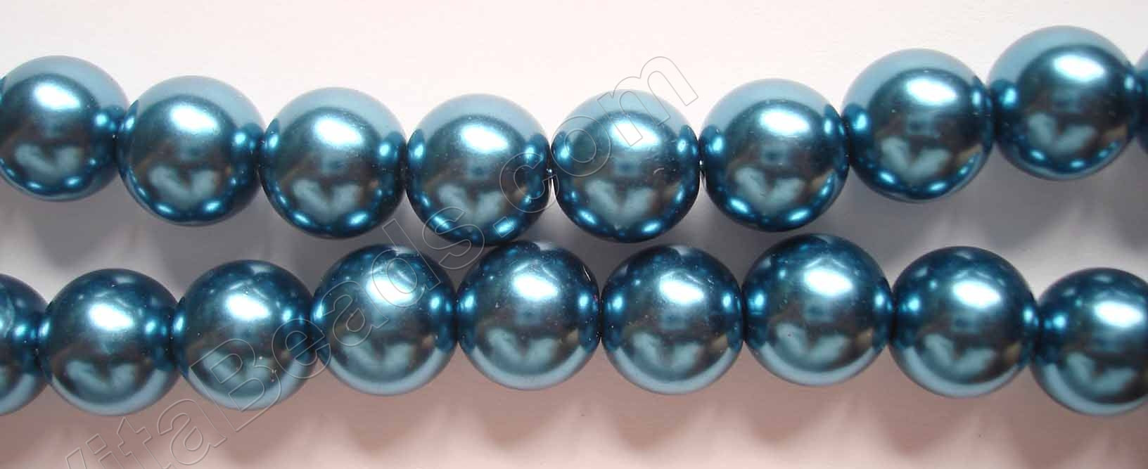 Glass Pearl  -  London Blue - Smooth Round  16""