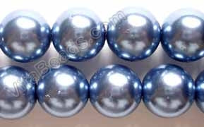 Glass Pearl   -  07 Dark Sky Blue  -  Smooth Round  16""