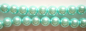 Glass Pearl   -  09 Light Amazonite Green  -  Smooth Round  16""