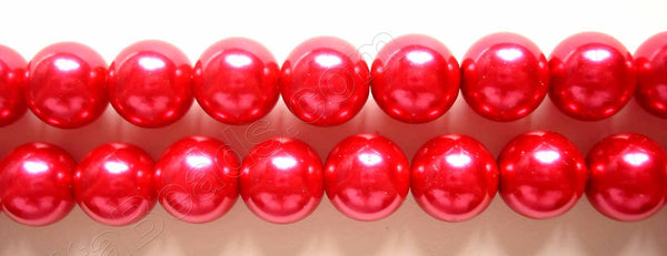"Glass Pearl   -  12  Big Red  -  Smooth Round  16""  14mm"