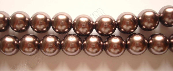 "Glass Pearl   -  20 Dark Brown  -  Smooth Round  16""   14mm"