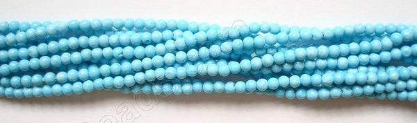 "Blue Turquoise Manmade  -  Small Smooth Round 14""   2mm"