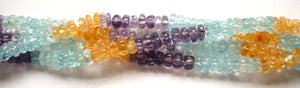 "Multi Gems 4 Color  -  Carved Melon  14""    3x6mm"