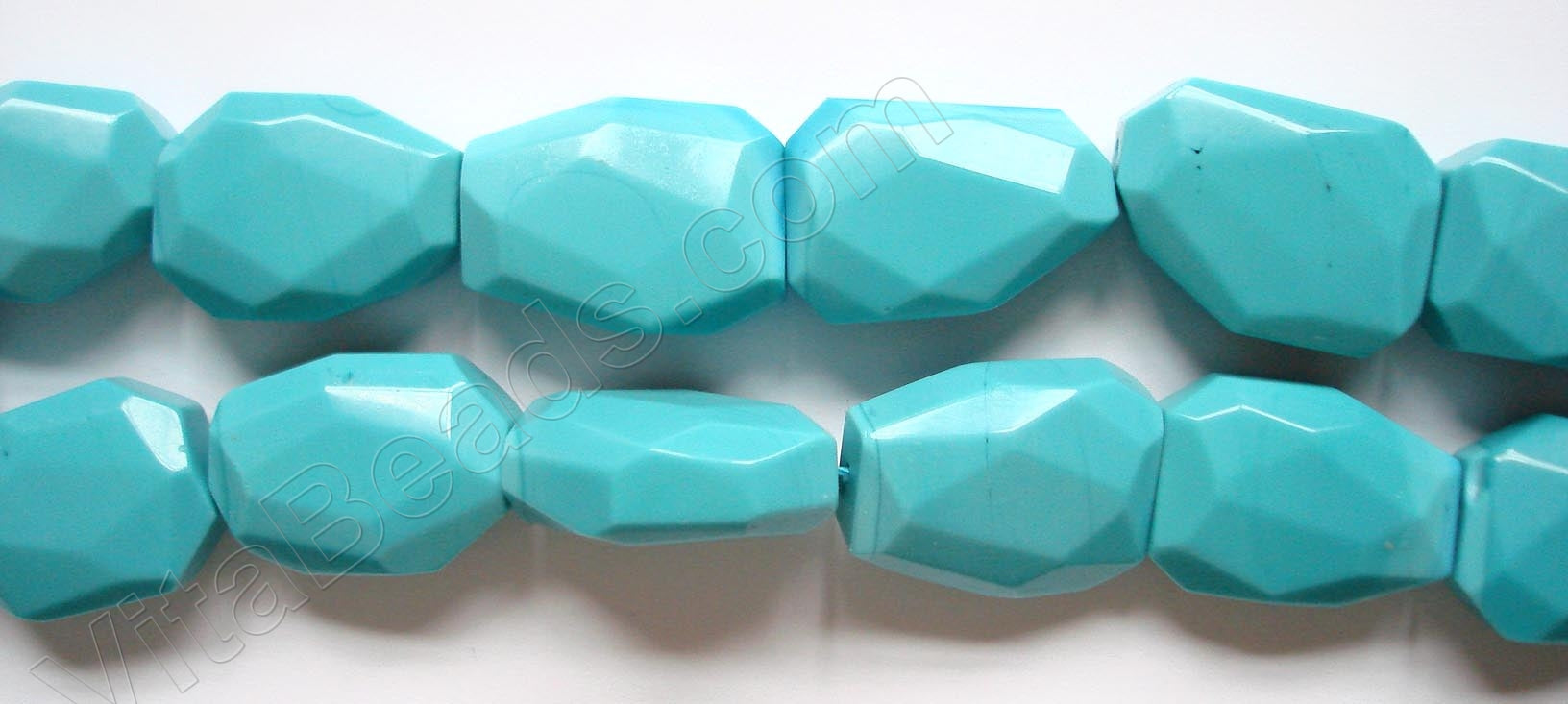 Synthetic Turquoise  -  Irregular Faceted Flat  16""