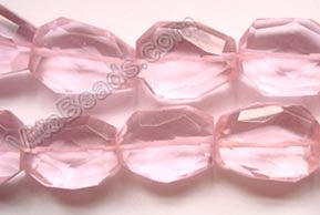 Pink Crystal Quartz  -  Irregular Faceted Flat  16""
