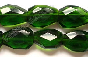 Dark Green Crystal Quartz  -  Irregular Faceted Flat  16""