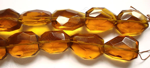 Amber Crystal Quartz  -  Irregular Faceted Flat  16""