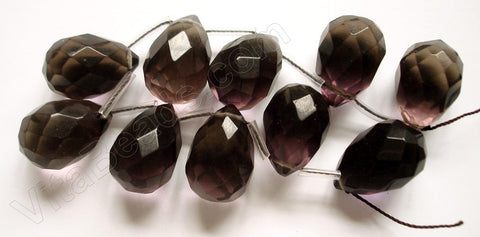 Smoky Crystal Quartz Dark -  18x25mm Faceted Teardrop 8""